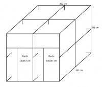 Voliéra 202x202x202 cm- 2 boxy bez krmného pultu